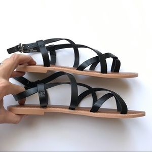 32e3519f60a39e Topshop Shoes - Topshop Black Leather HICCUP Strappy Sandals sz38